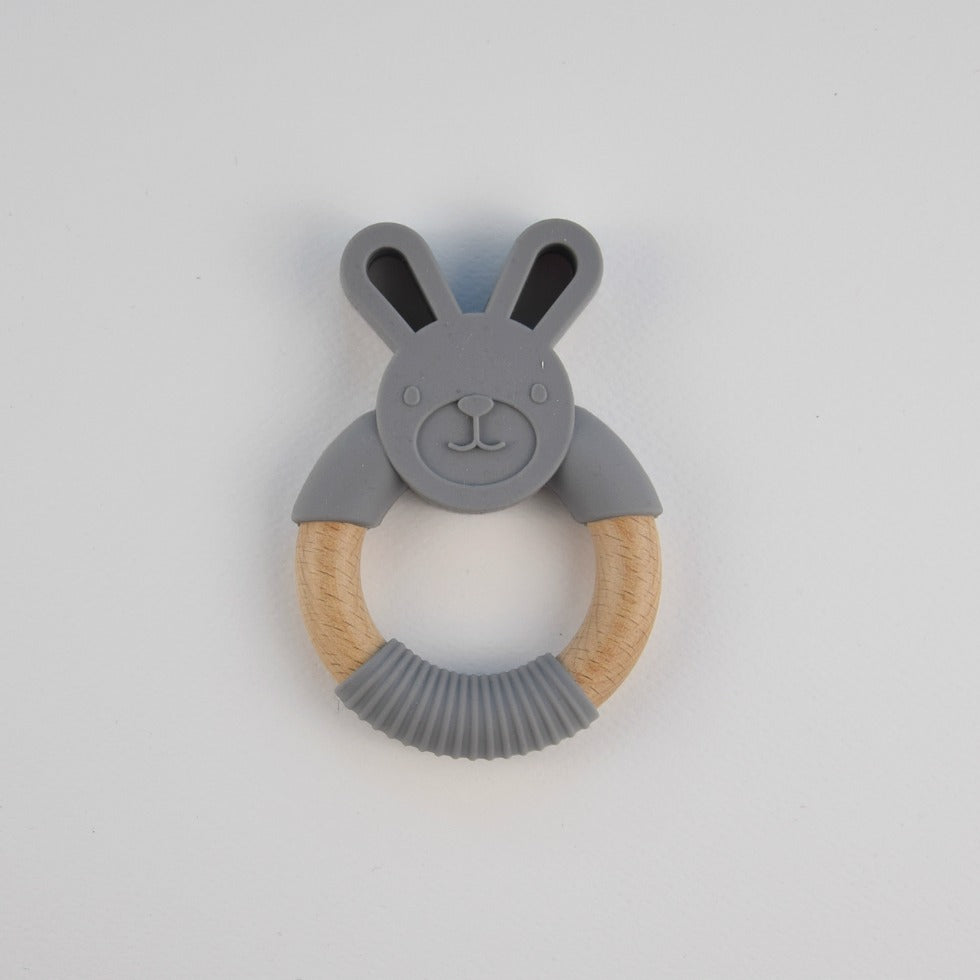 Silicone bunny teether - dark grey