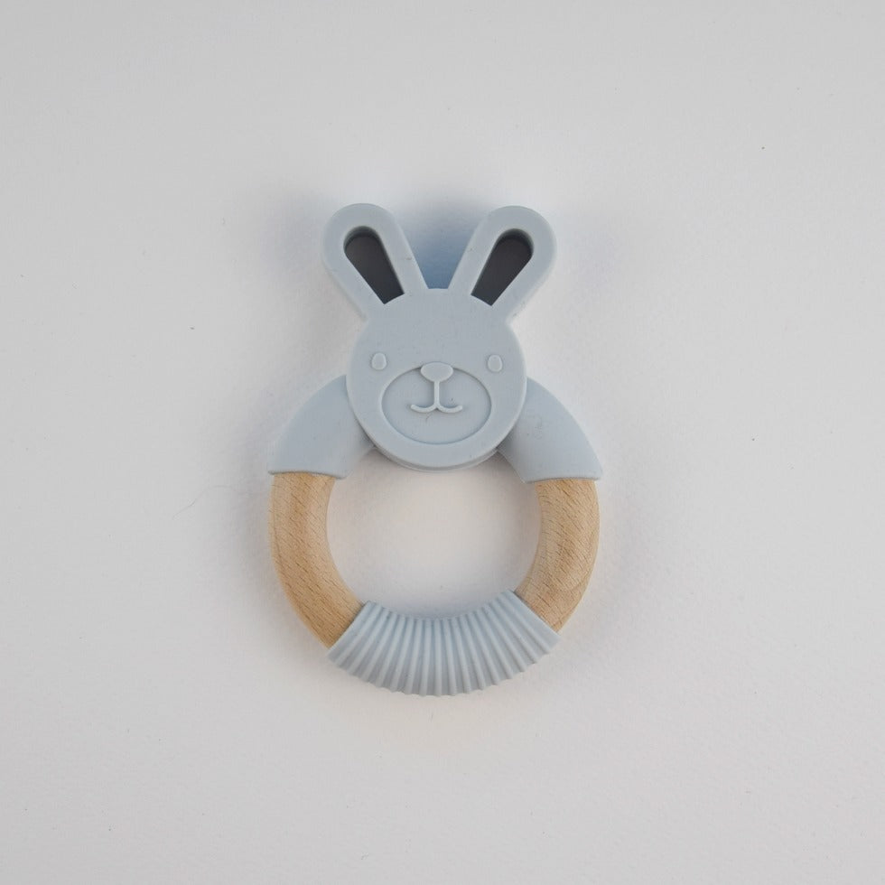 Silicone bunny teether - light grey