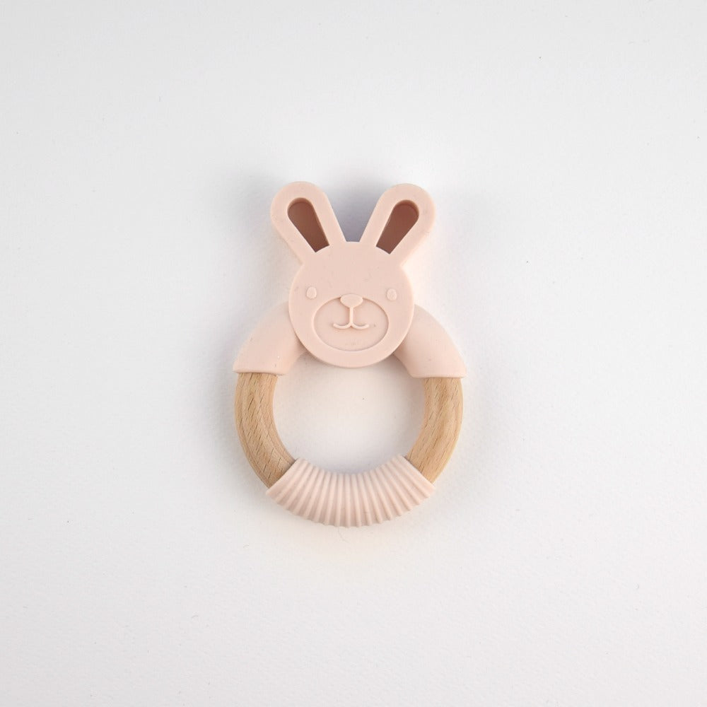 Silicone bunny teether - light pink