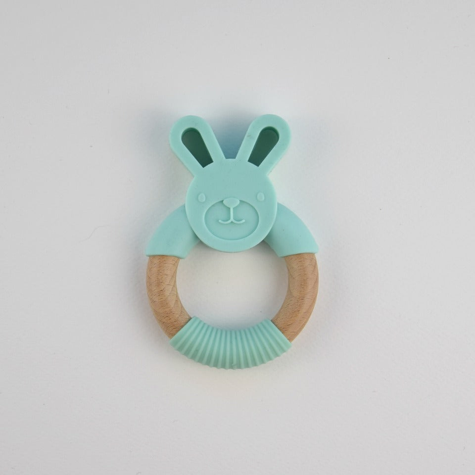 Silicone bunny teether - mint