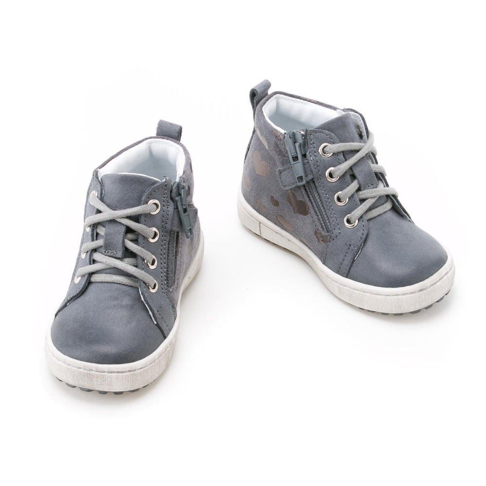 (2624-3) Grey Hearts Lace Up Sneakers