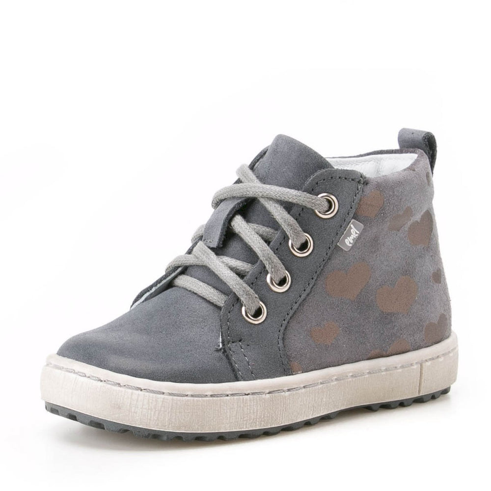 (2624-3) Grey Hearts Lace Up Sneakers - MintMouse (Unicorner Concept Store)