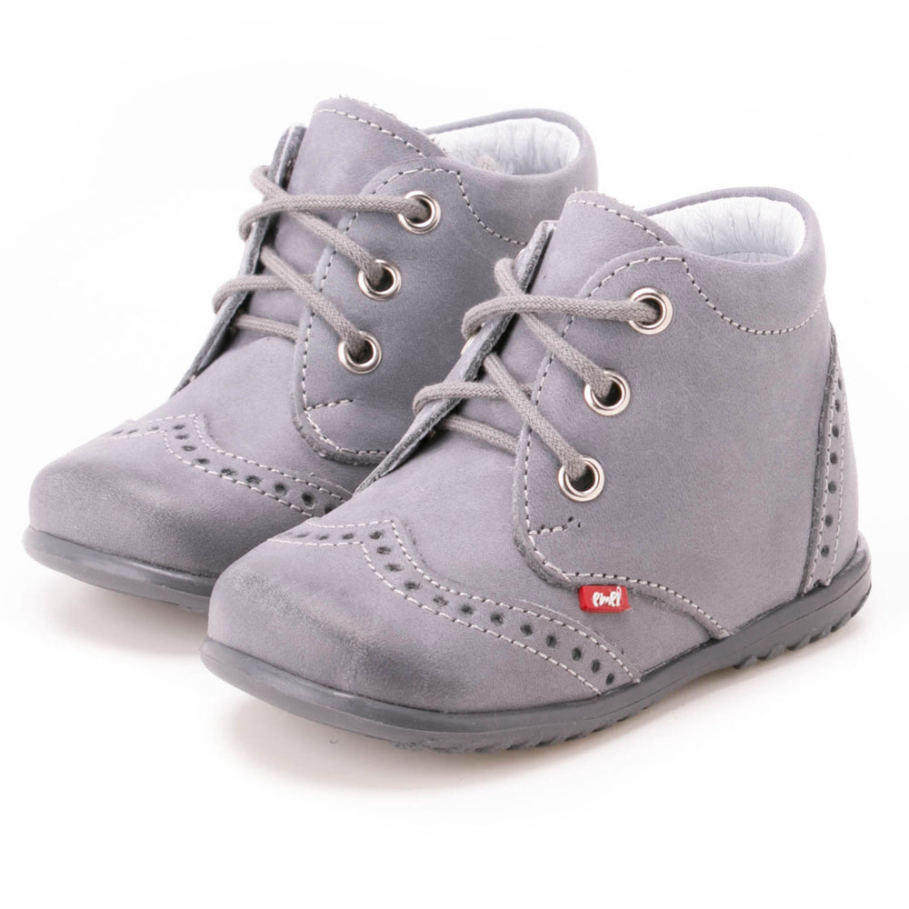 Emel first shoes - grey brogue lace-ups (1437-14)