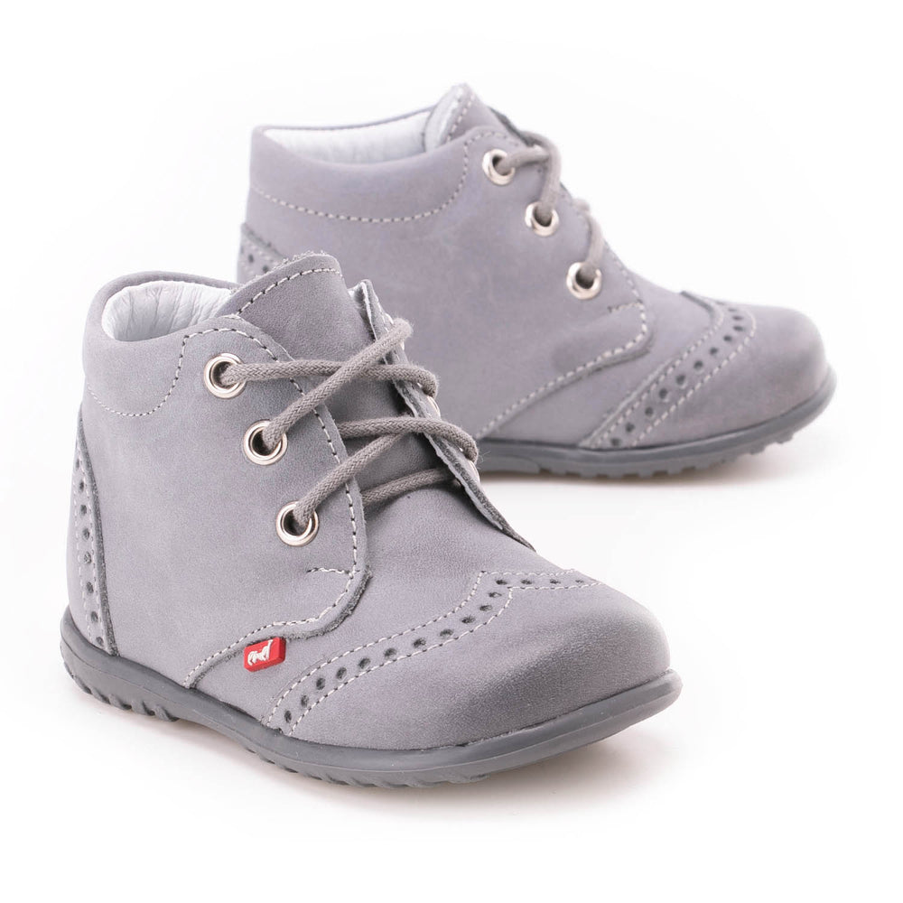 (1437-14) Emel first shoes - grey brogue lace-ups - MintMouse (Unicorner Concept Store)