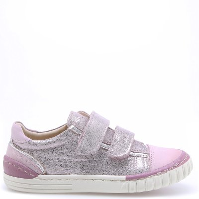 (2066-17/2071-17) Pink shiny low Velcro Trainers