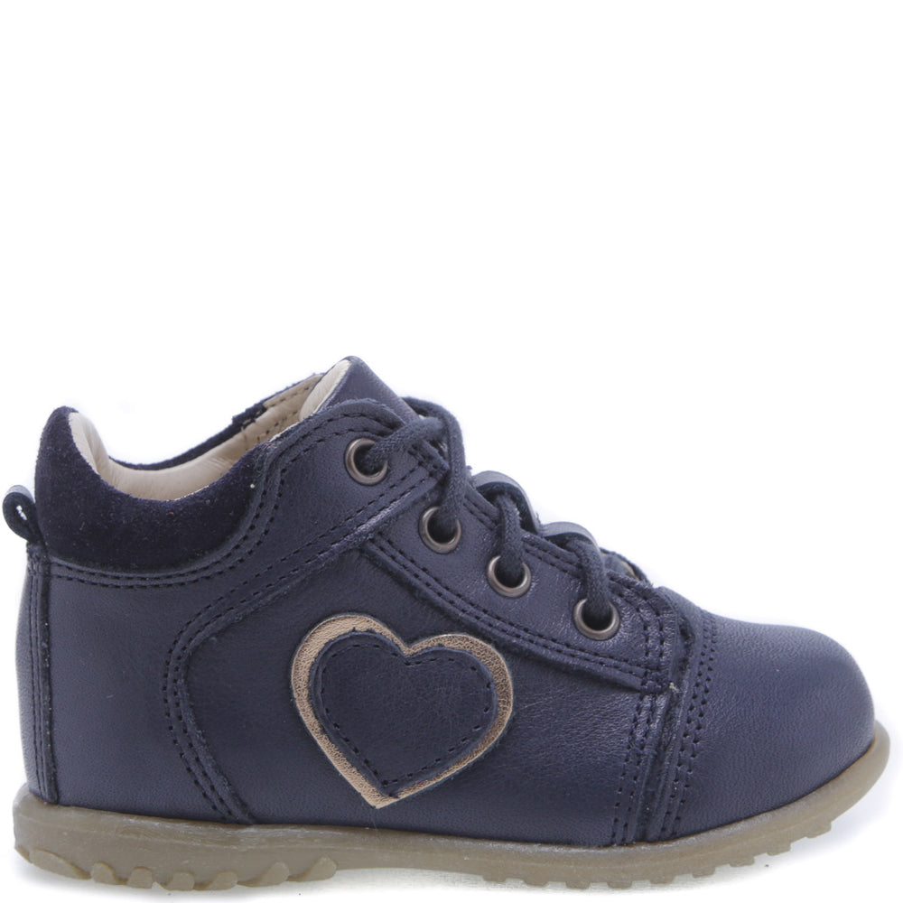 (2069E-7) Emel Lace Up First Shoes navy heart