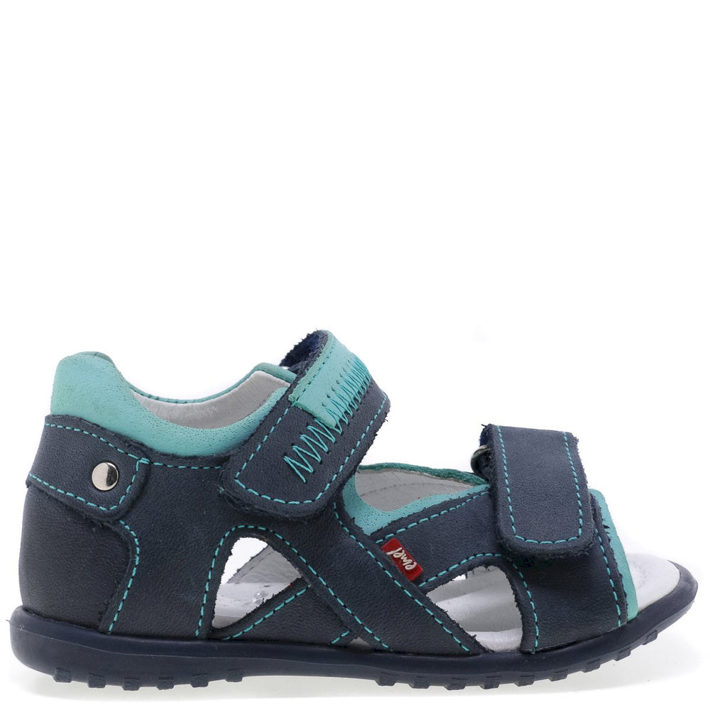 (2086) Emel navy turquoise first Sandals