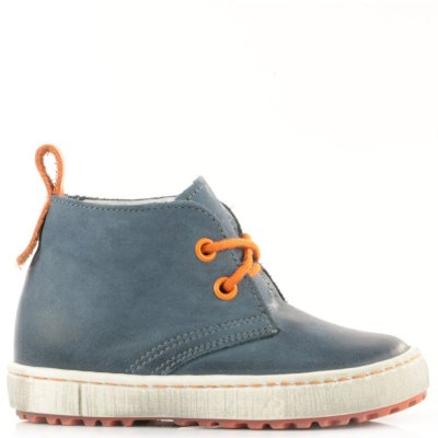 (2150-3/2242-3) Navy Orange Lace Up Trainers