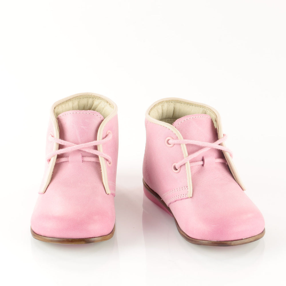 (2195-14) Emel Pink Thomas Heel Lace Up Shoes