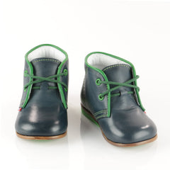 Emel Navy-Green Lace Up Shoes (2195-16)