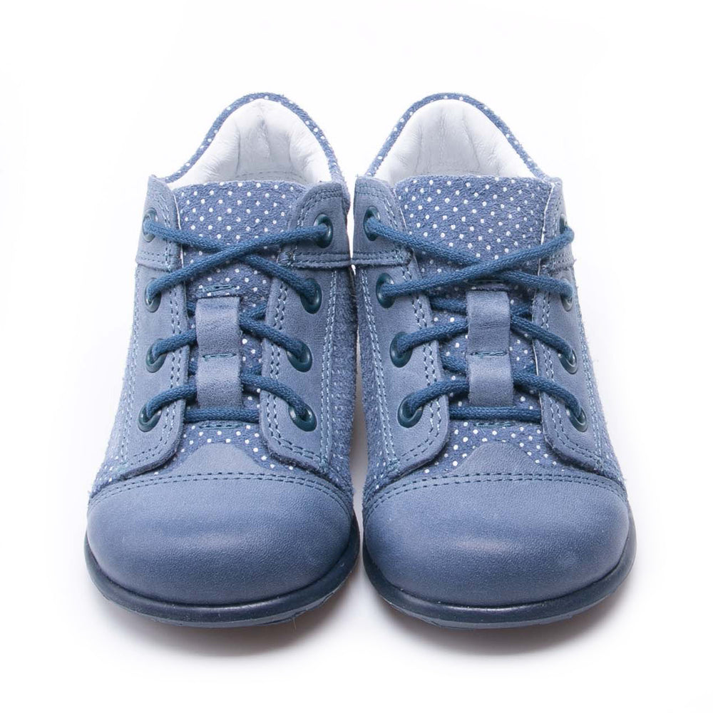 Emel Lace Up First Shoes Blue polka dots (2369B-10)