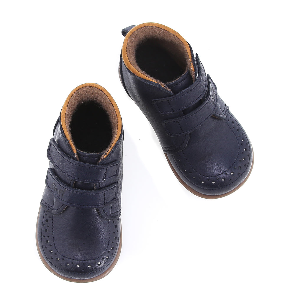 (2439B-6) Emel first winter shoes navy velcro