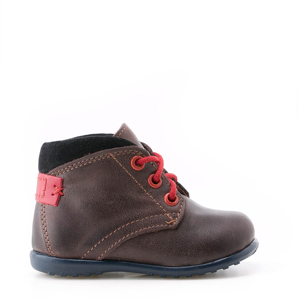 Emel first lace up shoes brown / red (2440-8)