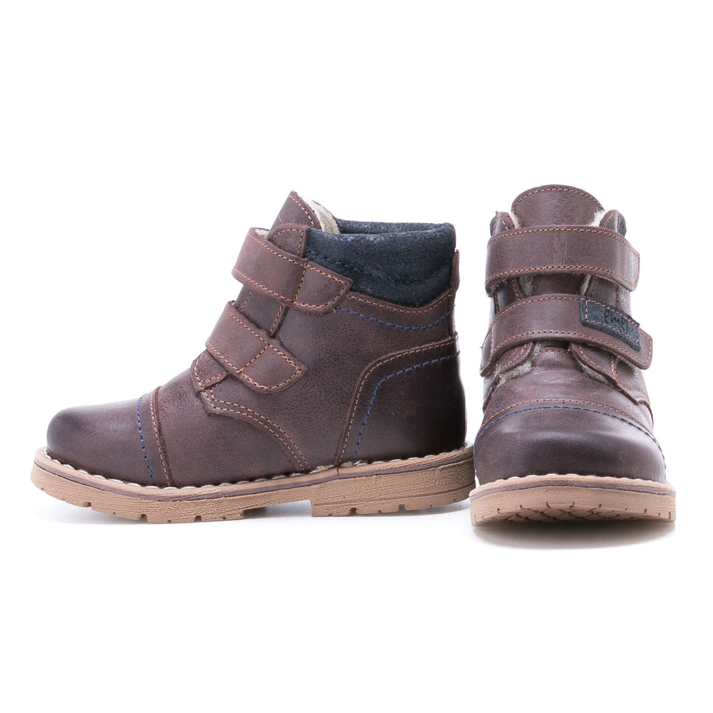 (2447-7/2448-7) Emel velcro winter shoes - dark brown