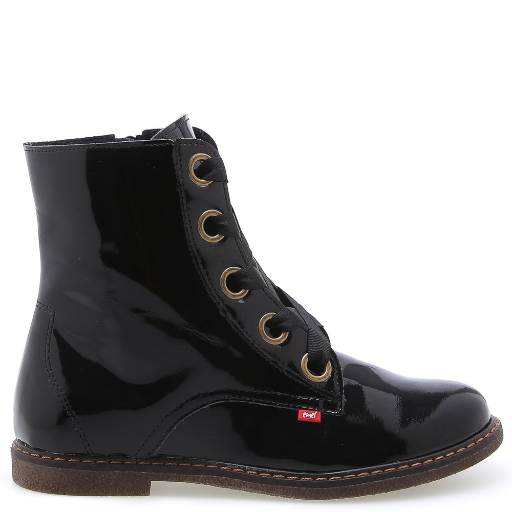 (2622E-K) Emel Black patent lace-up boots