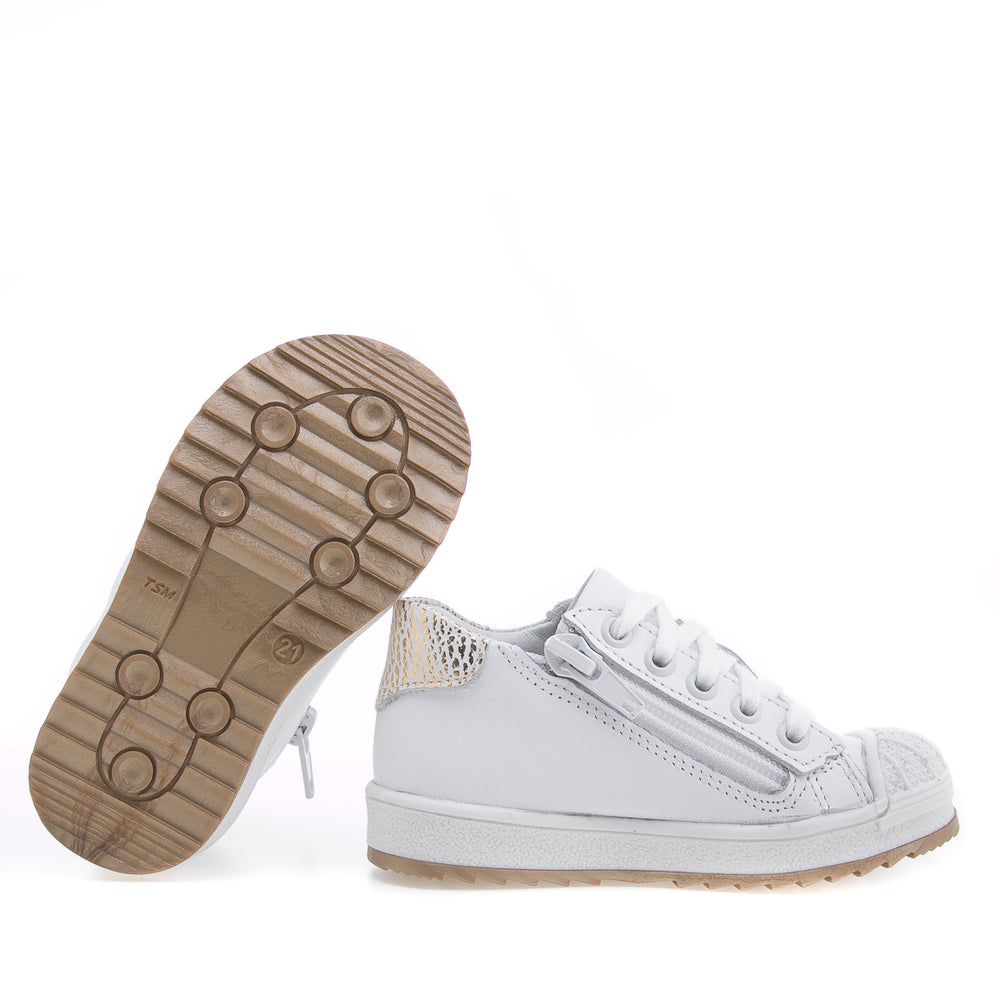 (2627A-22/2628A-22) Low Bumper Trainers white gold with Zipper - MintMouse (Unicorner Concept Store)