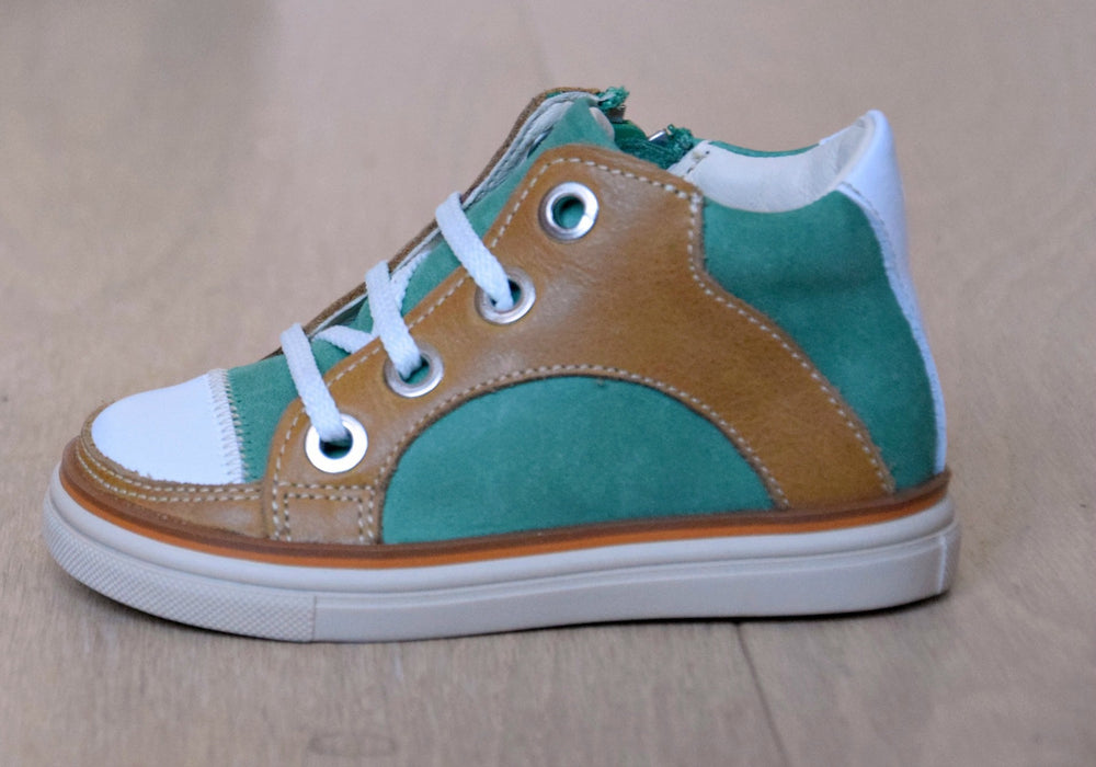 (2630-17) Green Cognac Lace Up Trainers with zipper - MintMouse (Unicorner Concept Store)