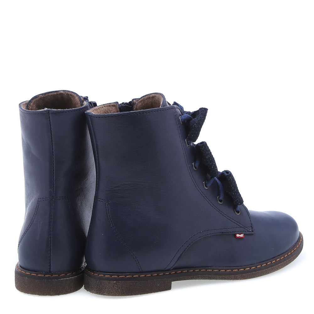 (2622D-1) Emel Blue bow lace-up boots - Coming soon