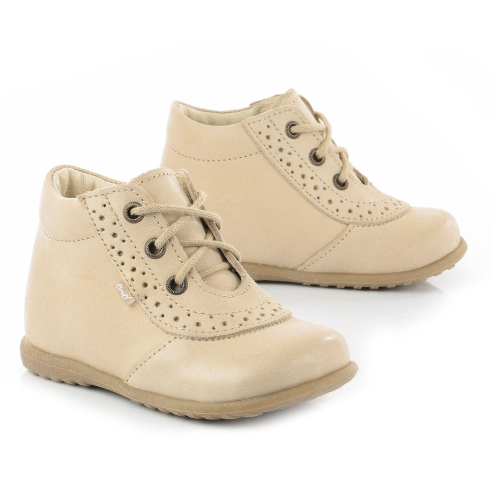 (716-8) Emel Lace Up First Shoes beige