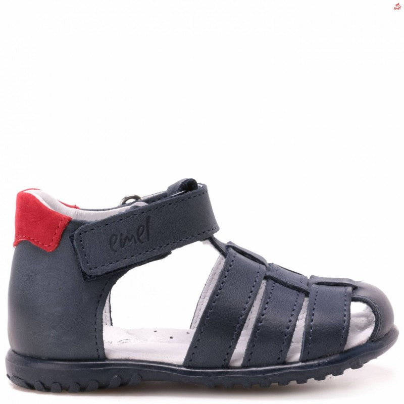 (1078-22) Emel Navy red closed sandals