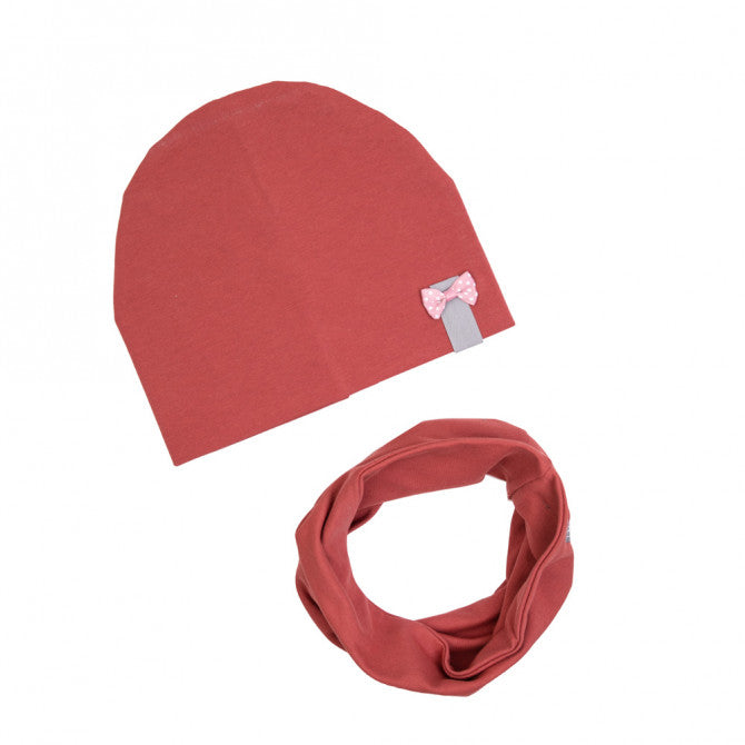Hat and scarf set - marsala