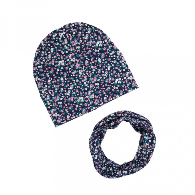 Hat and scarf set - Navy flowers