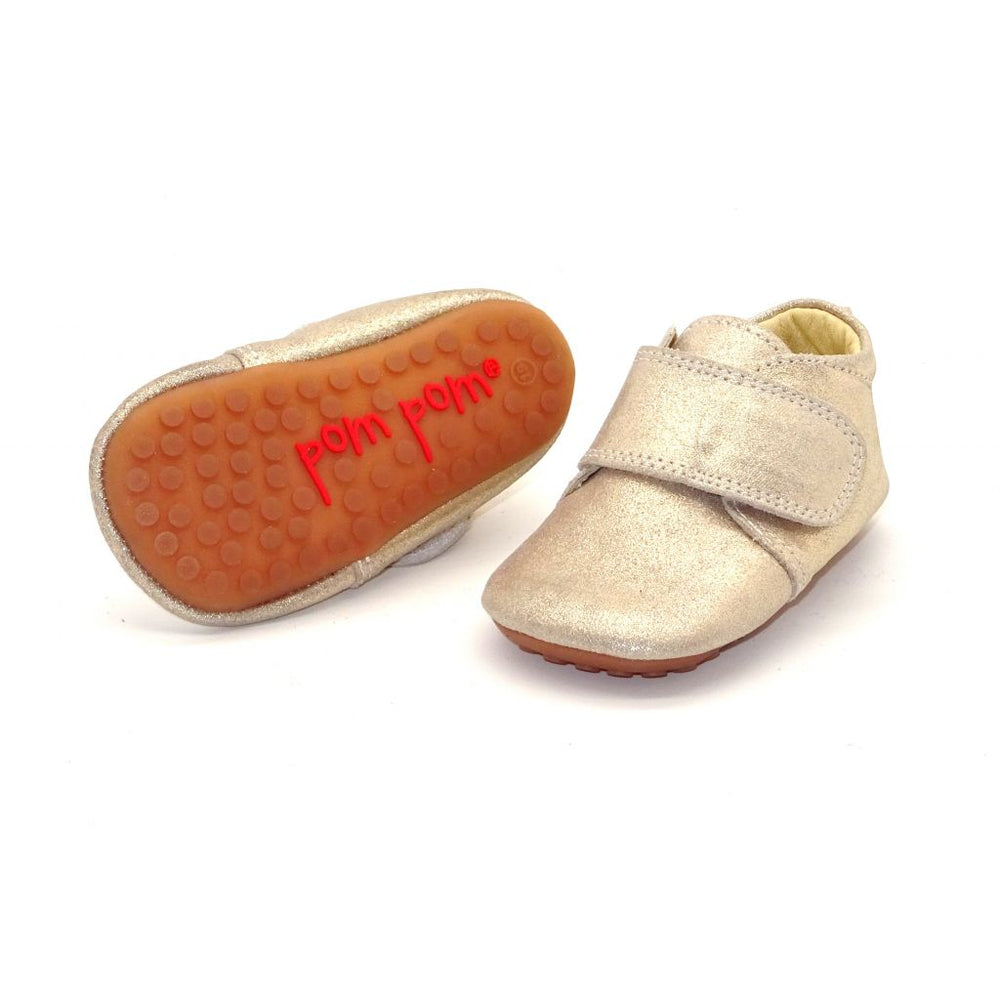 Pom Pom leather slippers velcro - sparkle gold - MintMouse (Unicorner Concept Store)