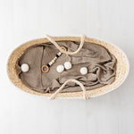 Bamboo hooded blanket with pom poms - beige - MintMouse (Unicorner Concept Store)