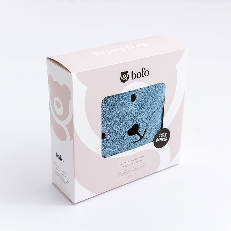 Bamboo hooded towel with bear ears - Blue