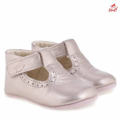 Pre-walker baby shoes - T-bar metallic