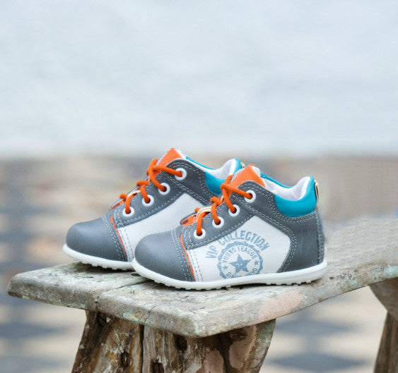 Emel Taupe Orange Lace Up Trainers (2069-8)