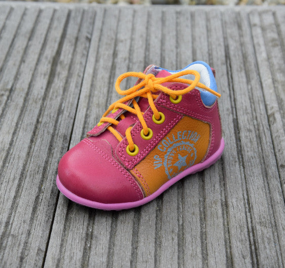 Emel Pink Yellow Blue Lace Up Trainers (2069-12)