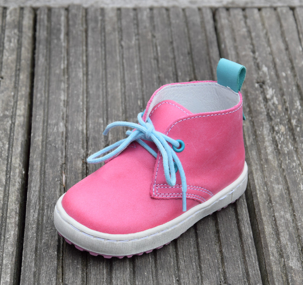 (2150-11) Emel Pink Blue Lace Up Trainers