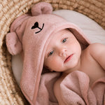 Bamboo hooded towel with bear ears - Pink