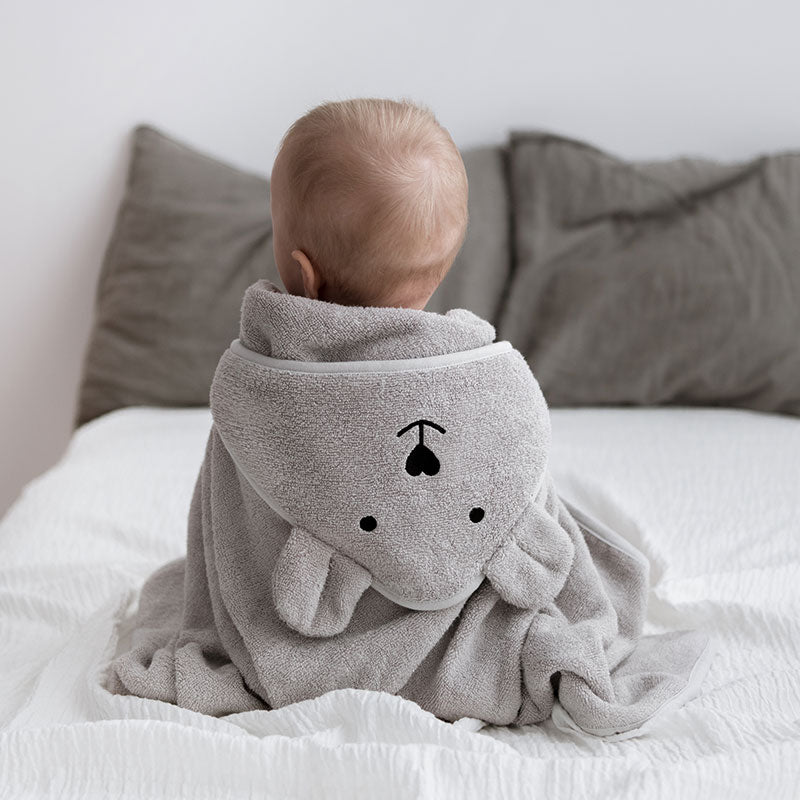Bamboo hooded towel with bear ears - Grey