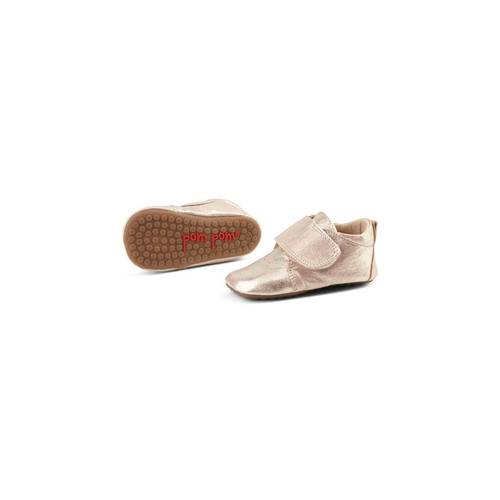 Pom Pom leather slippers velcro - sparkle rose