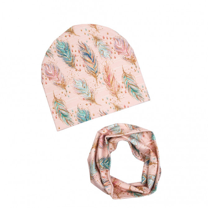 Hat and scarf set - pink feathers
