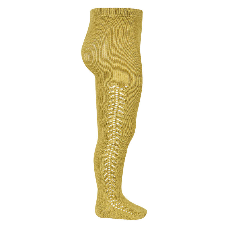 Tights side openwork warm - mustard