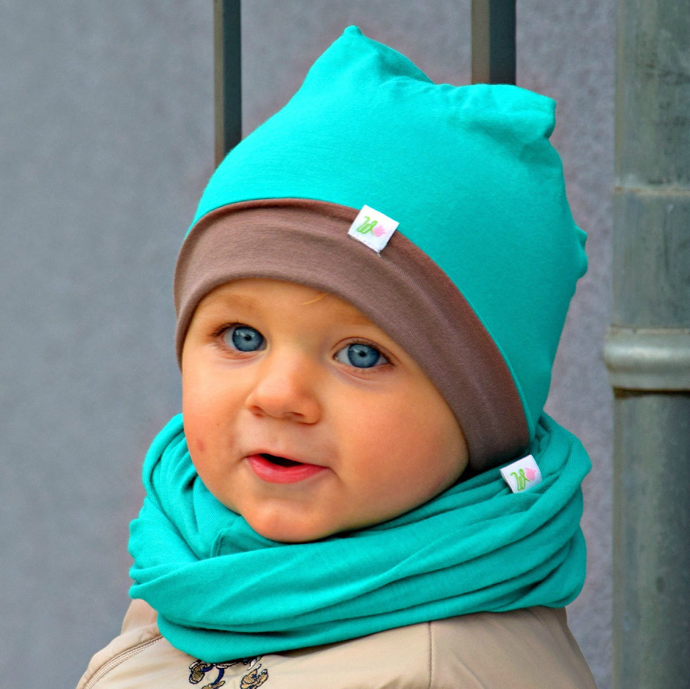 Reversable Bamboo Beanie - Emerald/Brown - MintMouse (Unicorner Concept Store)