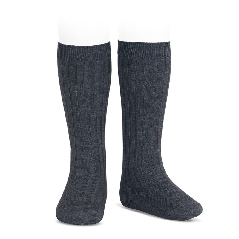 Knee socks ribbed basic -anthracite