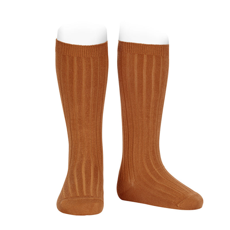 Knee socks ribbed basic - cinnamon