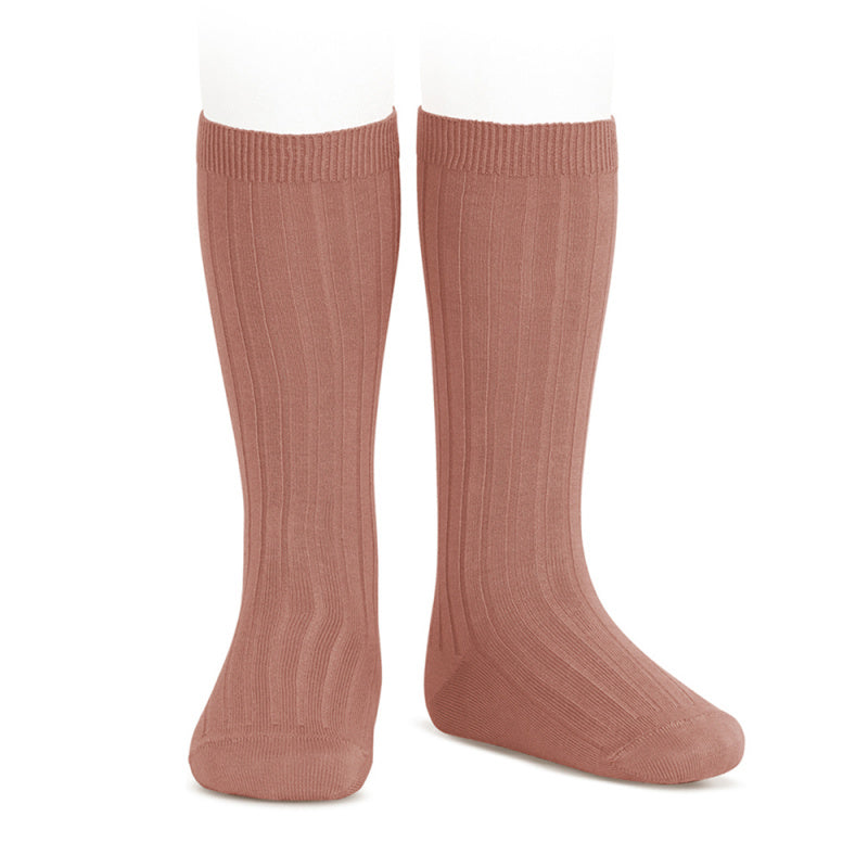 Knee socks ribbed basic - terracotta