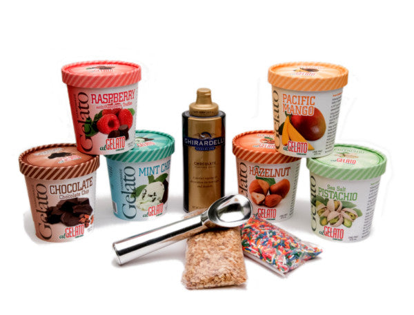 Six Gelato Pints with Sauce, Sprinkles, Nuts and Premium Scooper