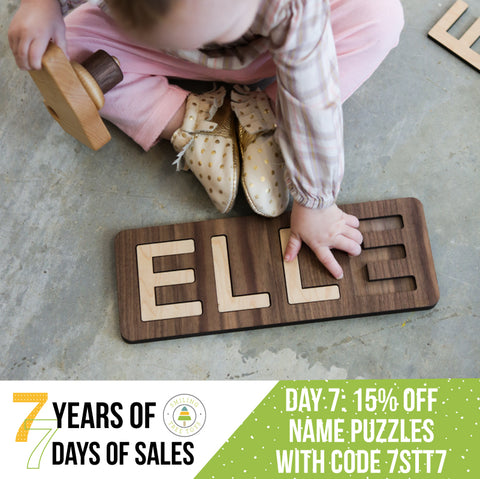 children's natural wooden name puzzle