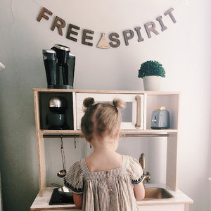 FREE SPIRIT Wall Banner Wooden Bunting Decor for Nursery Bedrooms and Play Areas for Kids