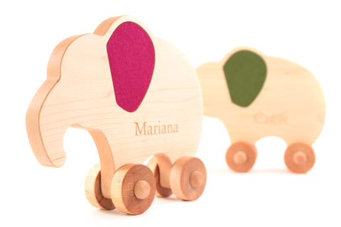 Personalized Wooden Elephant Push Toy with Felt Inlays