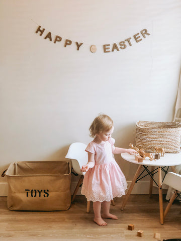 Happy Easter Egg Bunting wall decoration for spring decor unique timeless banner garland Smiling Tree Toys
