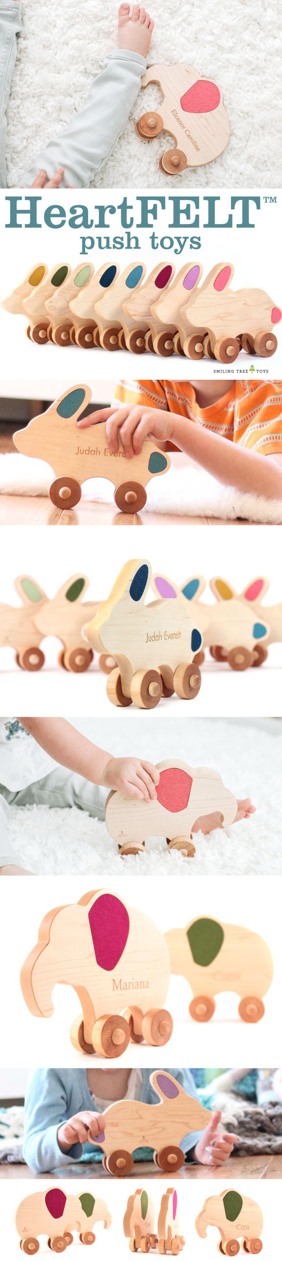 HeartFELT Push Toys handmade wooden toys for babies and toddlers