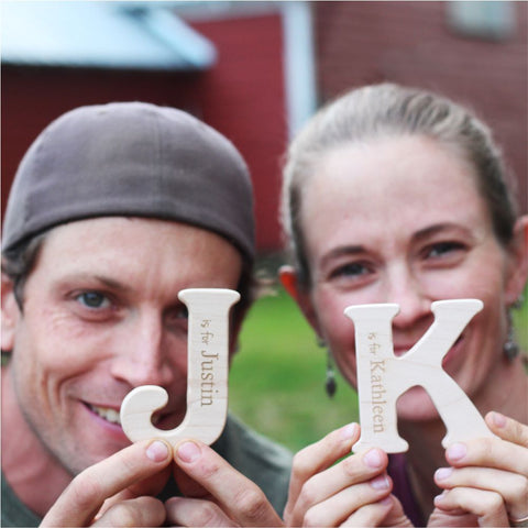 creative business owners and natural wooden toy makers Justin and Kathleen Smiling Tree Toys