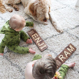 natural wooden toy name puzzle for toddlers